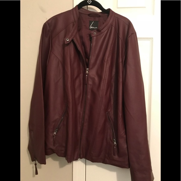 complimentary shipping best authentic big clearance sale Lane Bryant plus size burgundy faux leather jacket
